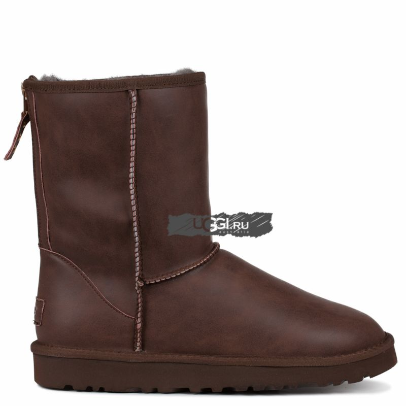 MENS Classic Leather Zip Chocolate
