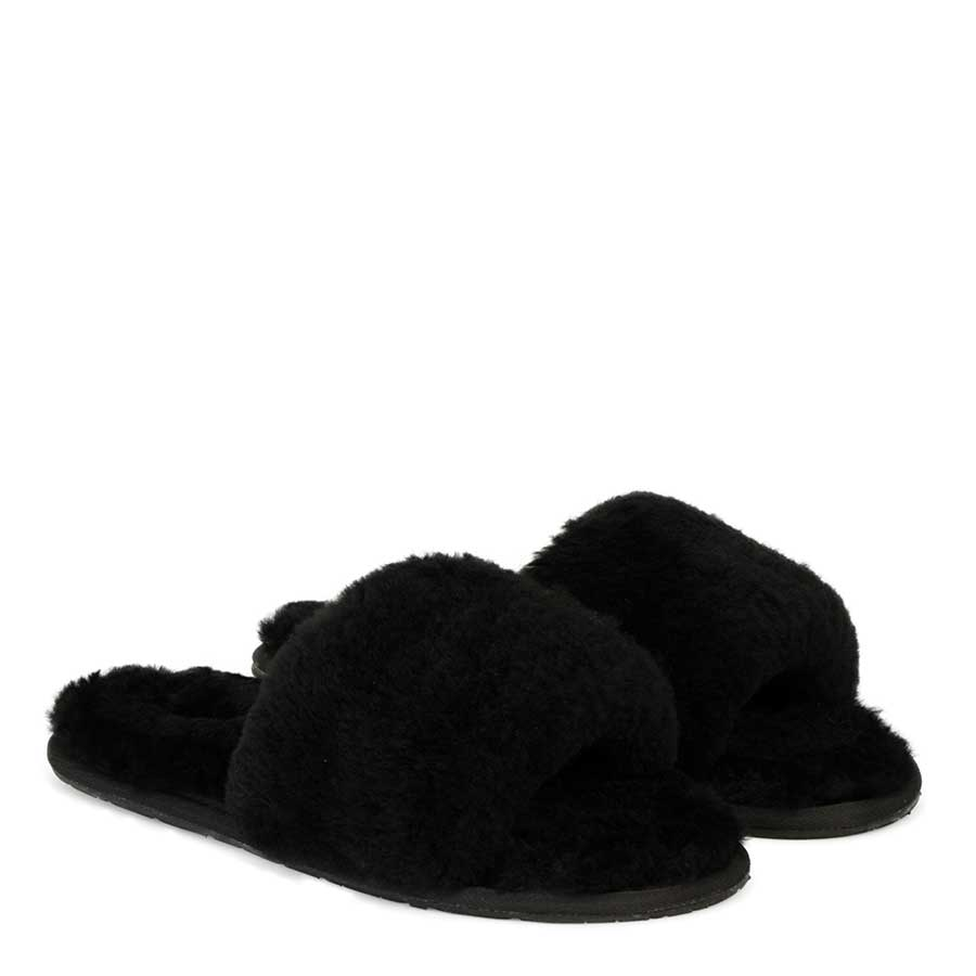 Fluff Slide Slippers Black