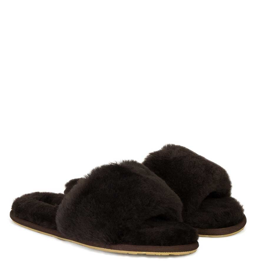 Fluff Slide Slippers Chocolate