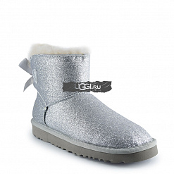 Mini Bow Sparkle Fashion Boot Silver