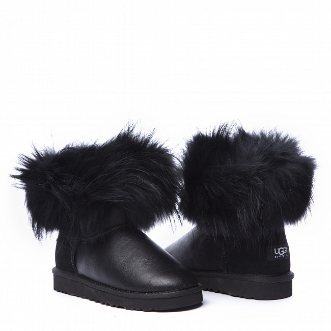 Mini Fox Fur Metallic Black (Black Fur).  №4