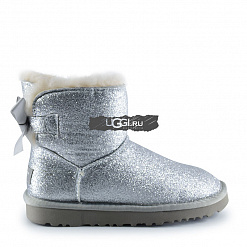 Mini Bow Sparkle Fashion Boot Silver 1
