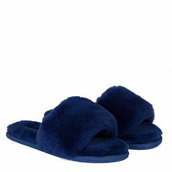 Fluff Slide Slippers Navy 1